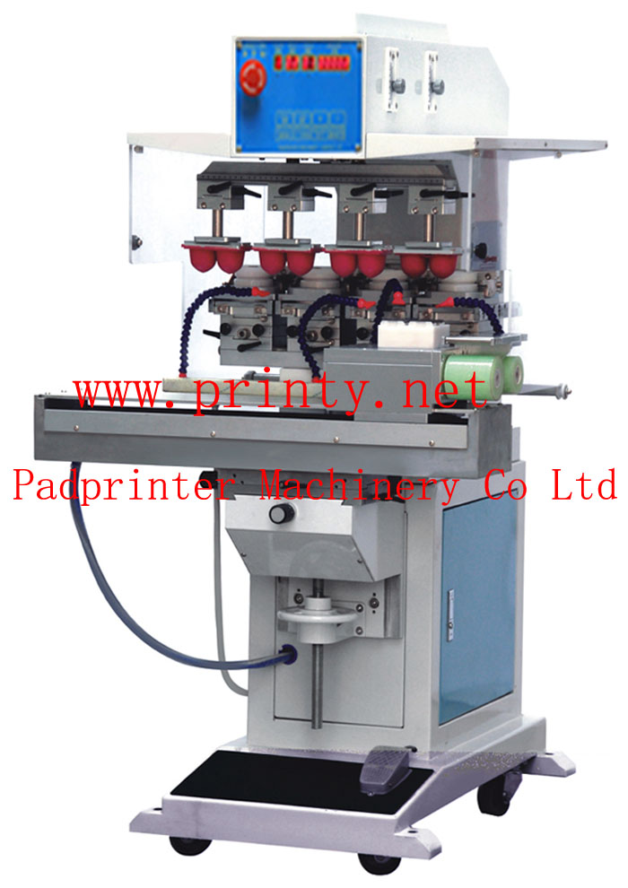 4 color shuttle pad printer machine with auto pad cleaning