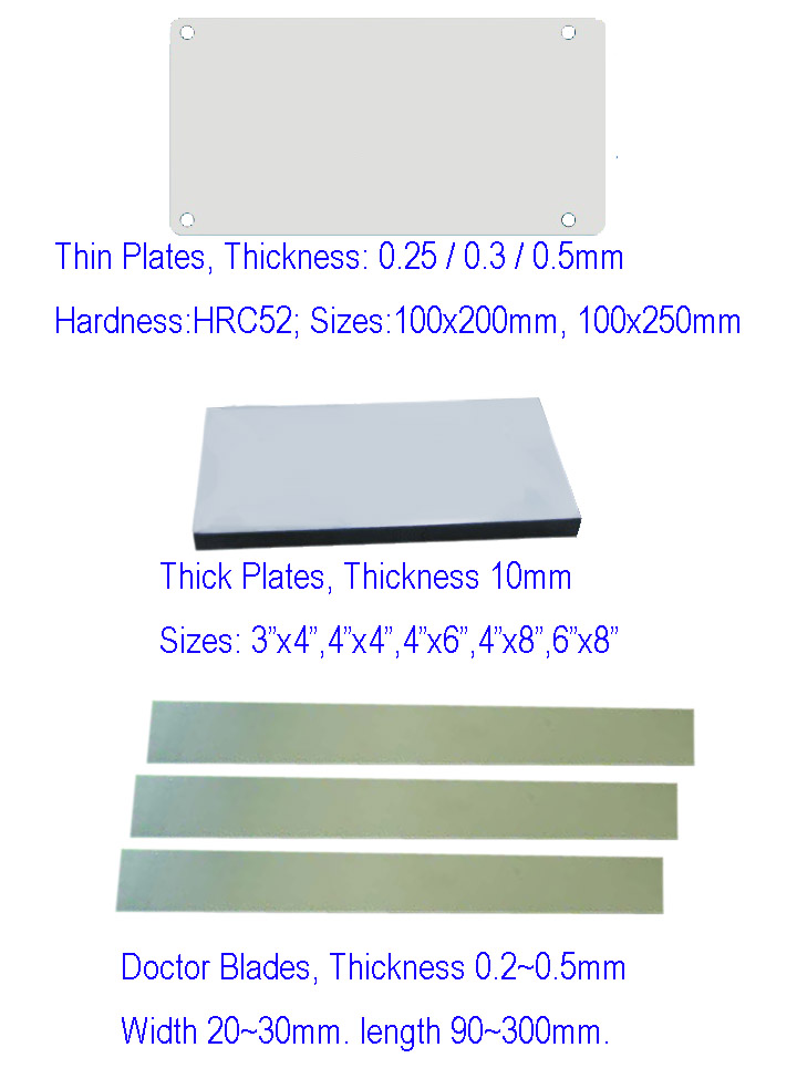Pad printing plates,thin plates and doctor blades etc.